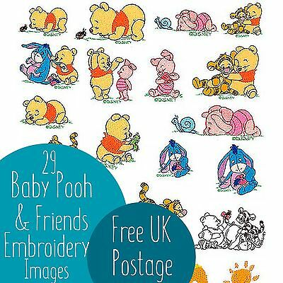 29 Baby Pooh & Friends Embroidery Machine Design Images on CD