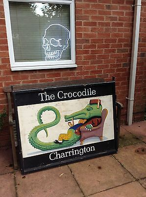 Antique Reclaimed vintage Hand Painted pub sign Crocodile Gentleman Pictorial