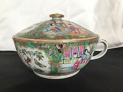 Antique Rose Medallion Large Chinese Porcelain Bowl With Lid And Handle