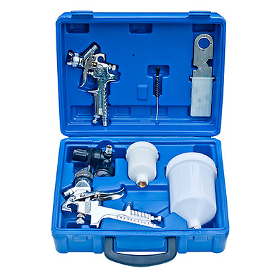 S# New 2pc HVLP Air Spray Gun Kit 1.4/0.8mm Nozzle Set Paint Touch Up Gravity Fe