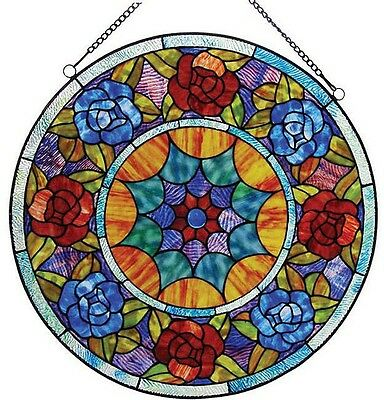 Stained Glass Panel for Window Tiffany Style Hanging Suncatcher Floral Victorian
