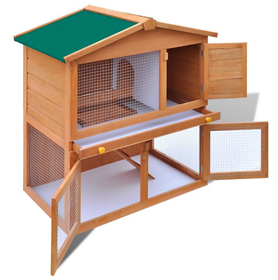 Double Rabbit Hutch 3FT Guinea Pig Bunny Ferret Run And Cage Coop Wooden Pen Pet
