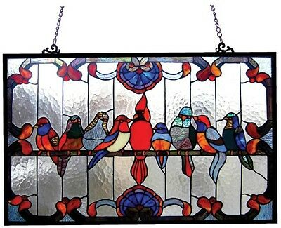 Stained Glass Panel for Window Tiffany Style Suncatchers Birds Victorian Hanging