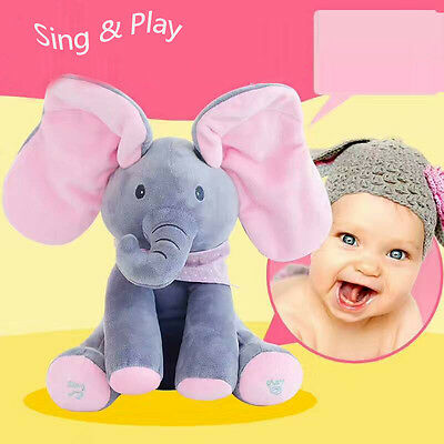 Baby Peek-a-boo Elephant Plush Toy Singing Stuffed Pink Animated Kids Soft Toy
