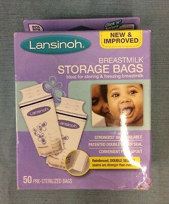 Lansinoh Breastmilk Storage Bags, 50 Count, BPA Free and BPS Free NEW