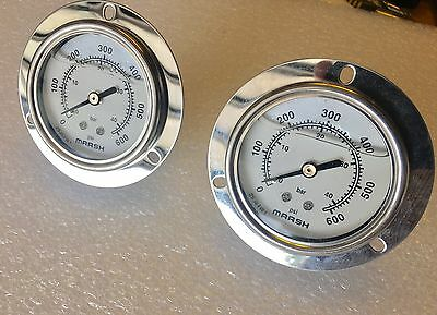 "New LOT 2 x Marsh Bellofram Pressure Gauge 63MM 0/600 PSI & Bar 1/4"" NPT"