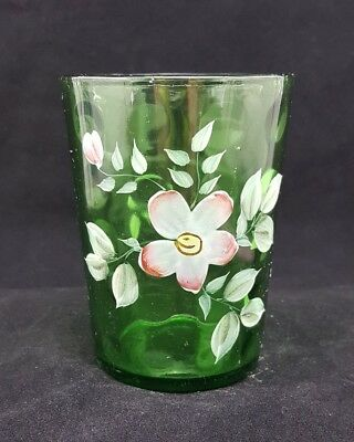 Antique Hand Painted Coin Dot Green Glass Tumbler !