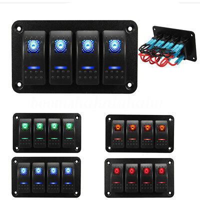 4 Gang LED 12V 24V Fog Work Light Rocker Switch Panel Car Boat Marine Waterproof