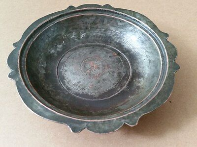 ANTIQUE TURKISH OTTOMAN COPPER DISH-PLATE WITH MASTER TUGHRA 19th century-15cm