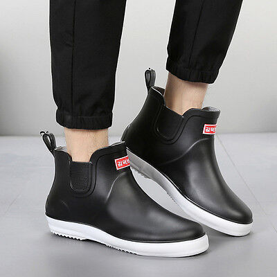Summer Mens Low Top Shoes Waterproof Rain boots Flats Slip On Rubber Bootie AU