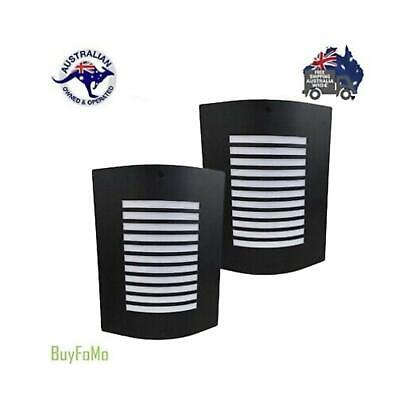 Box of 2  Black Curved Modern Outdoor Wall Mounted Lights + FREE LED GLOBES