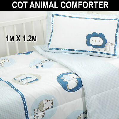 ANIMALS COMFORTER SET Baby Kids Crib Cot Quilt Pillowcase Craddle Zoo Comforters