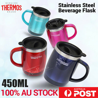 Thermos Stainless Steel Insulated Travel Mug Handle coffee bottle 450ml Red Blue