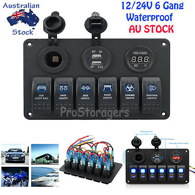 LED Rocker Switch Panel Circuit Breakers 6 Gang 12V USB Charger For Marine Boat