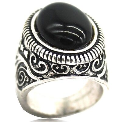 SZ 7-15 Retro Vintage Sterling Silver Black Onyx Ring Cocktail Puzzle Antique