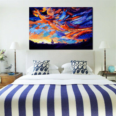 Modern Abstract Huge Wall Art Oil Painting On Canvas Colorful Dusk Not Framed