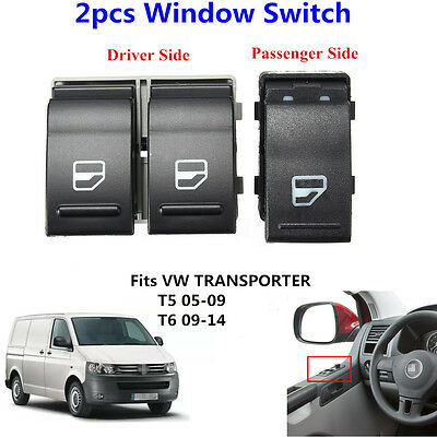2pcs Electric Window Switch Passenger + Driver Side For VW Transporter T5 T6