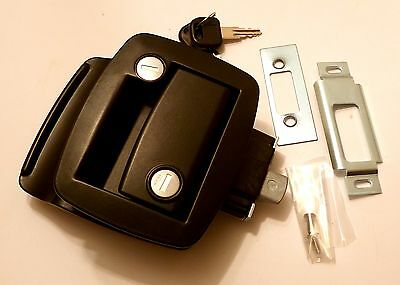 R3-10-311-50: Black South Co Door Lock - Double Locking - New - Horsebox/Caravan