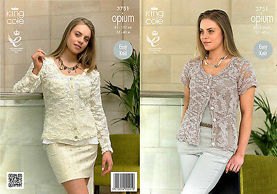 "KING COLE OPIUM LADIES EASY KNIT LACE CARDIGAN KNITTING PATTERN  32"" up to 50"""