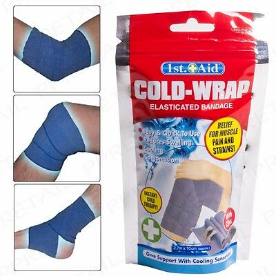 Elasticated Ice Cold Wrap Compression Bandage Muscle Pain/Strain Relief Therapy