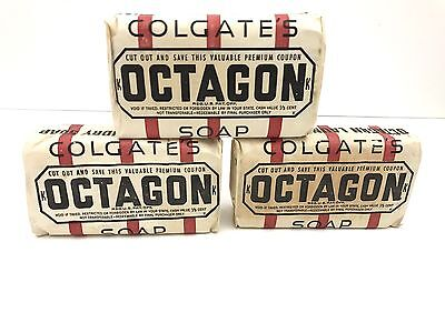 3 Vintage Bars of Octagon Laundry Soap Unopened NOS Fire-King Giveaway on Back