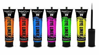 PaintGlow UV Neon Eyeliners, Full Set of 6 Bright Colours 6 x 15ml