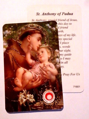 St Anthony ~ Prayer Card & Relic ~ PACK OF TWO