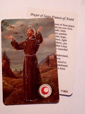St Francis ~ Prayer Card & Relic ~ PACK OF TWO
