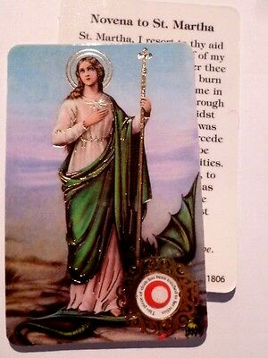 St Martha ~ Prayer Card & Relic ~ PACK OF TWO