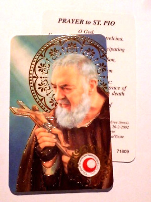 St Pio ~ Prayer Card & Relic ~ PACK OF TWO