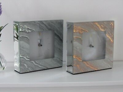 Square Mirrored Glass Grey or Pink Marble White Bedside Mantle Mantel Clock