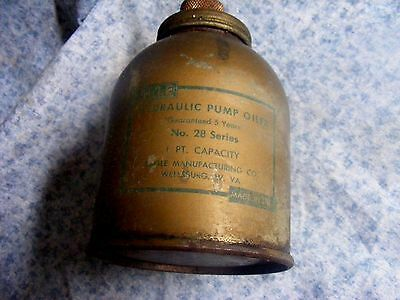 Vintage EAGLE HYDRAULIC PUMP OILER- 1 PINT -  NO. 28 SERIES Brass - Made in USA