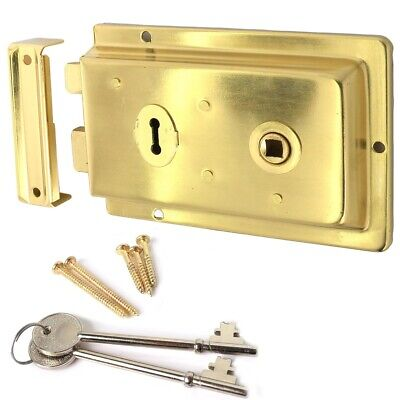 TRADITIONAL BRASS VICTORIAN RIM LOCK LEFT & RIGHT HAND FITTING Large Door Latch