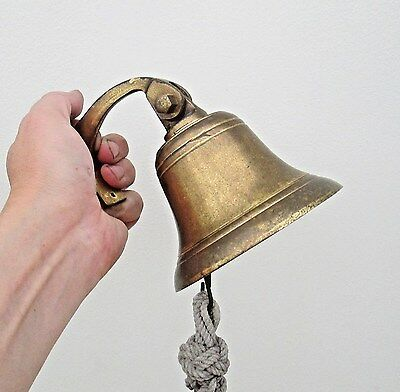 Old English Marine Brass or Bronze Ships Bell With Hanging Bracket & Rope Handle