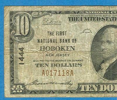 $10. 1929  Scarce The First National Bank Of Hoboken  New Jersey Charter  #1444