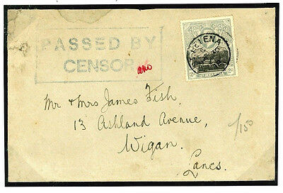DBW197b 1918 ST. HELENA WW1 Naval *PASSED BY CENSOR* With Initials Cover Wigan