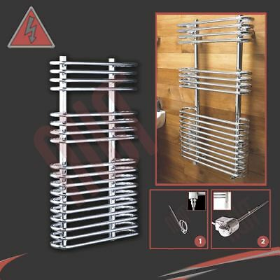 "500mm(w) x 900mm(h) Pre-Filled Electric ""Neath"" Chrome Towel Rail - 300W"