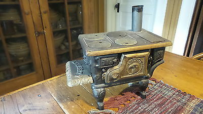 Antique Toy CAST IRON STOVE, LIBERTY & Utensils Miniature