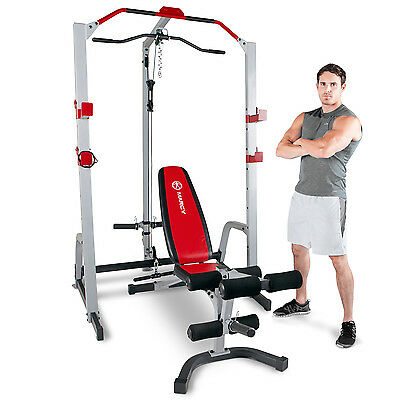 Marcy MD-8851R Deluxe Power Rack Home Multi Gym & Adjustable Weight Bench Press