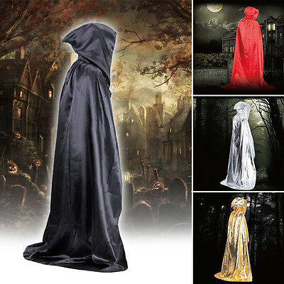 Vampire Hooded Cloak Medieval Witch Robe Cape Floor-Length Halloween Costume Csy