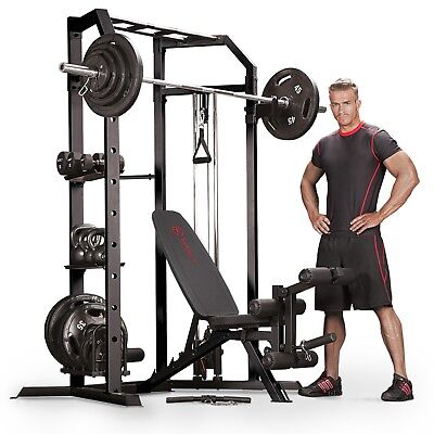 Marcy SM-3551 Power Cage Home Gym System with Cables, Pull Up & Dip, Weight Rack