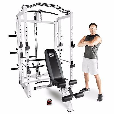 Marcy Pro Power Rack Cage Home Gym with Space Saving Folding Option