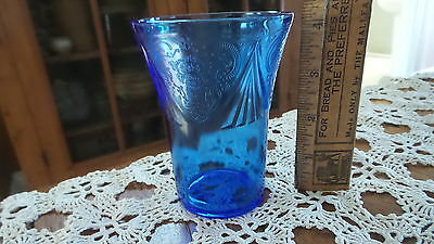 Antique Depression Glass ROYAL LACE 8 Oz GLASS Tumbler,Cobalt Blue,4-1/4""