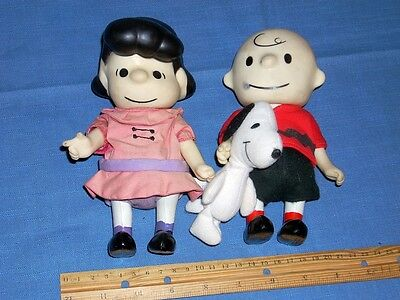 Vintage (1966)PEANUTS Pocket Dolls-Lucy and Charlie Brown