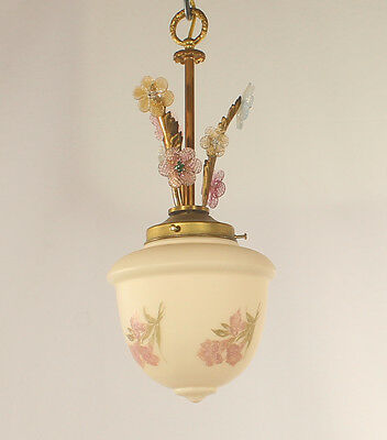 1 Light Antique Pendant Light with Hand Painted Shade and Venetian Rosettes