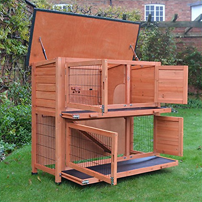Double Rabbit Hutch 4FT Cover Guinea Pig Bunny Ferret Cage And Run Coop Pet Pen
