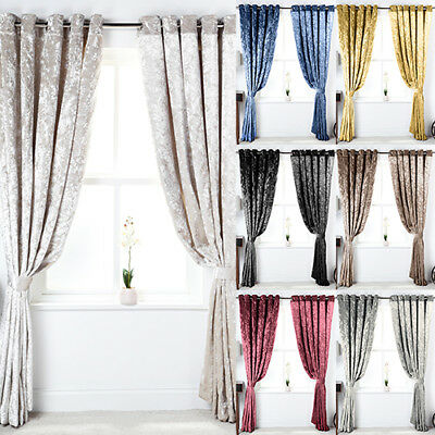 Heavyweight Crushed Velvet Pair Fully Lined Eyelet Ring Top Curtains Ready Made
