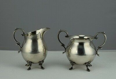 Sterling Silver Durham Silver Co Footed Creamer and Sugar Bowl Set  -  No Mono