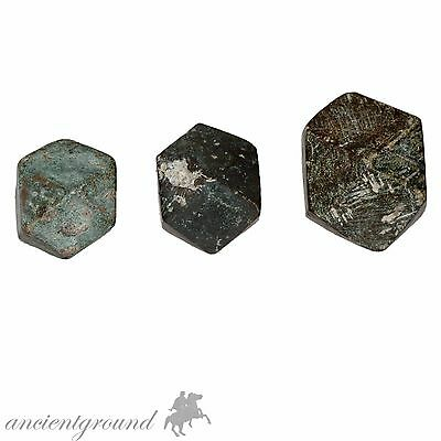 Collection Of 3 Museum Quality Roman Bronze Polygonal Weights Circa 300-400 Ad