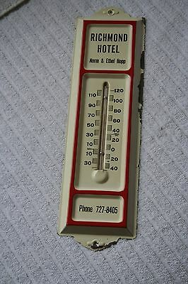 "Vintage"" Richmond Hotel"" Thermometer Tin/Metal Advertising Sign"